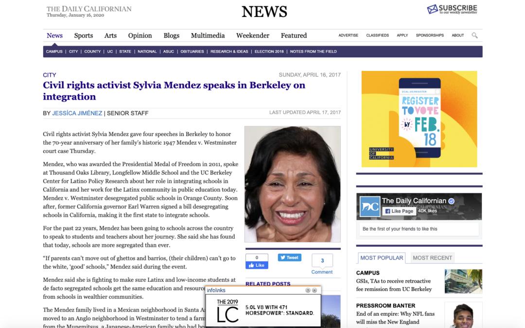 Civil rights activist Sylvia Mendez speaks in Berkeley on integration